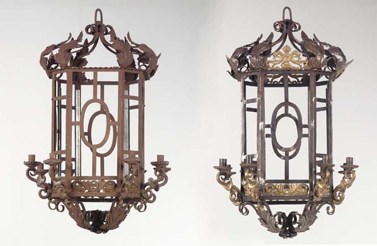 A PAIR OF WROUGHT AND CAST-IRO