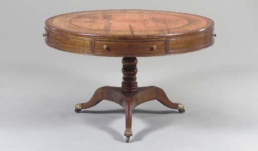 A REGENCY MAHOGANY DRUM TABLE,