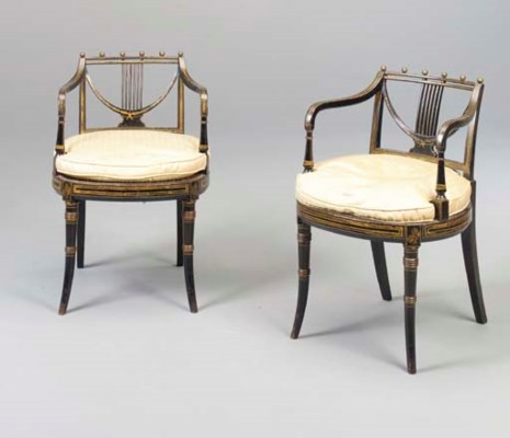A PAIR OF REGENCY BRASS-MOUNTE