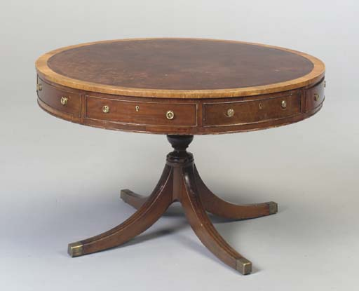 AN ENGLISH MAHOGANY DRUM TABLE