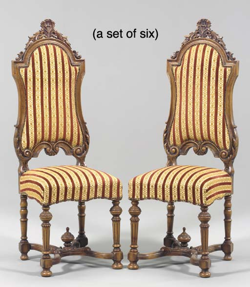 A SET OF SIX FLEMISH WALNUT DI