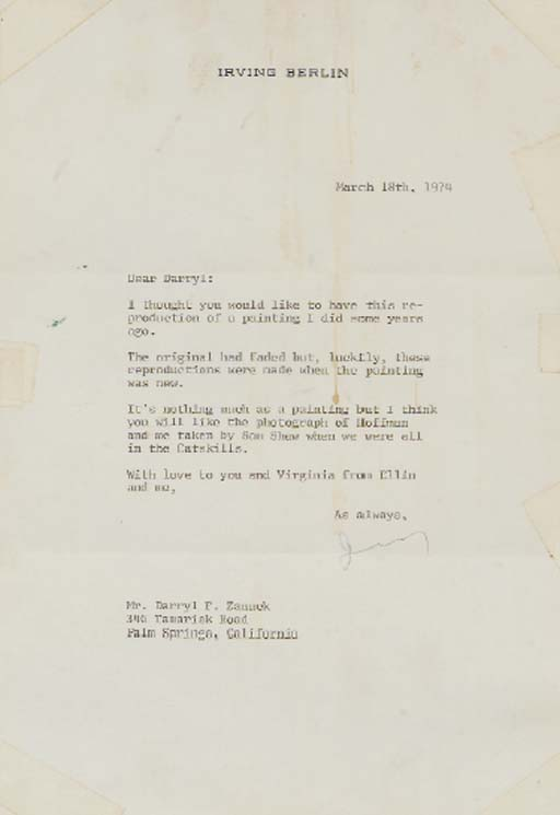 IRVING BERLING SIGNED LETTER T