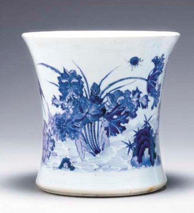 A BLUE AND WHITE BRUSHPOT, BIT