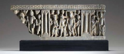A Gray Schist Stupa Drum Panel