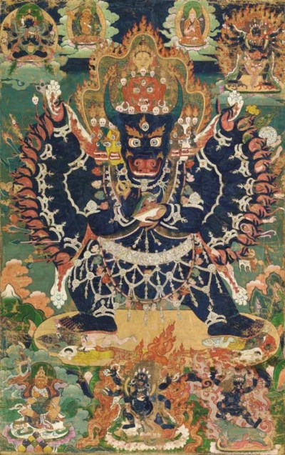A Thangka of Vajrabhairava Yam