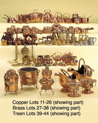 A COPPER MILK CAN, BUCKET AND