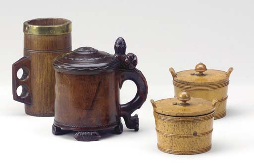 A GROUP OF TREEN VESSELS,