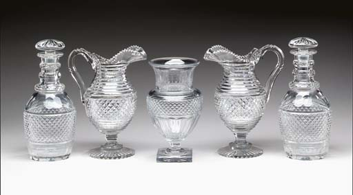 A PAIR OF GEORGE III GLASS DEC
