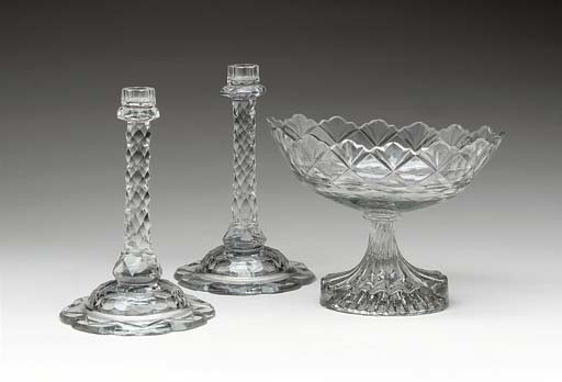A PAIR OF GEORGE III GLASS CAN