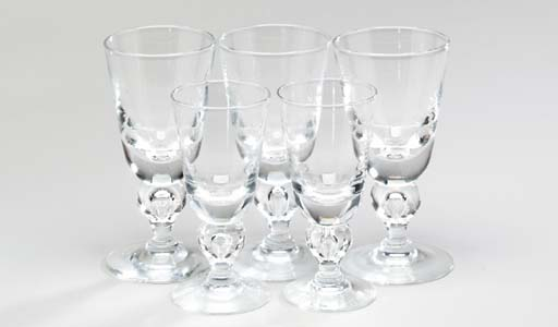 EIGHT STEUBEN WATER GOBLETS AN