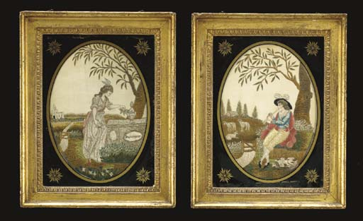 A PAIR OF REGENCY EMBROIDERED