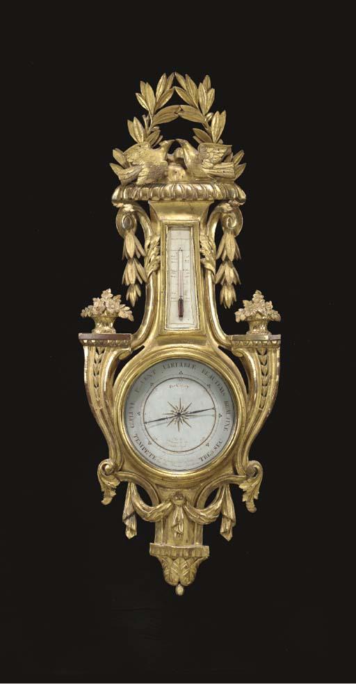 A LOUIS XVI GILTWOOD BAROMETER