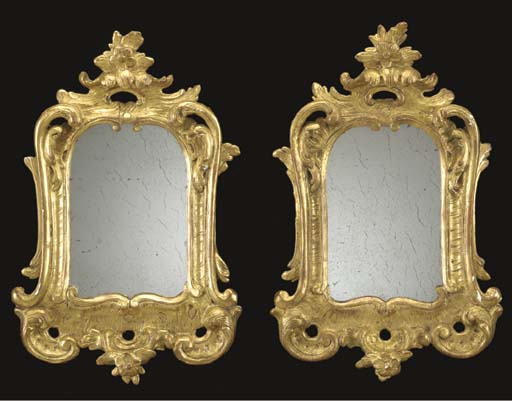A PAIR OF ROCOCO GILTWOOD SMAL