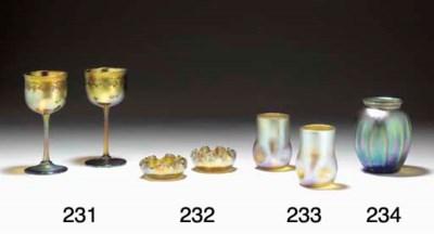 TWO FAVRILE WINE GLASSES,