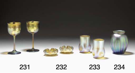 TWO FAVRILE GLASS SALT CELLARS