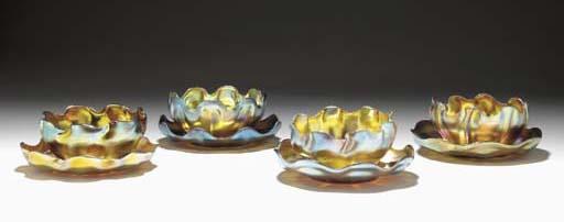 FOUR FAVRILE GLASS FINGER BOWL