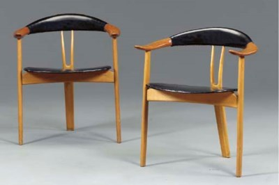 A PAIR OF DANISH LEATHER-UPHOL