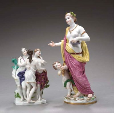 TWO MEISSEN FIGURE GROUPS,
