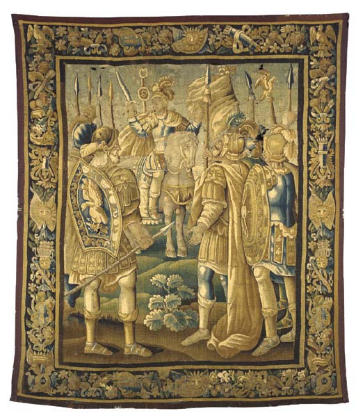 AN AUBUSSON HISTORIC TAPESTRY,