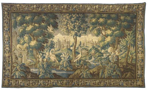 AN AUBUSSON VEDURAE TAPESTRY,