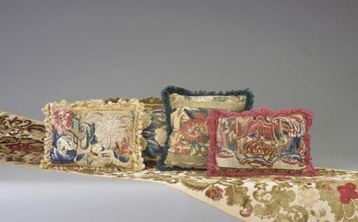 FOUR FLEMISH TAPESTRY CUSHIONS