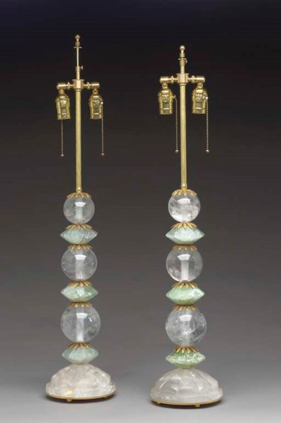 A PAIR OF ROCK CRYSTAL AND GRE