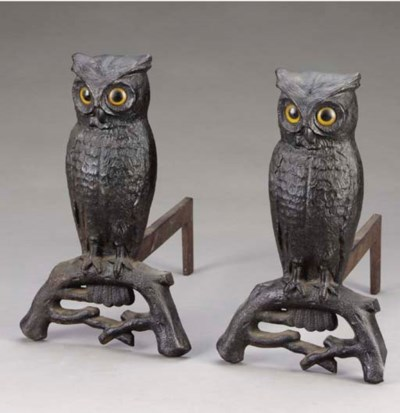 A pair of American cast-iron o