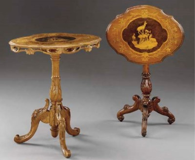Two Swiss fruitwood, marquetry