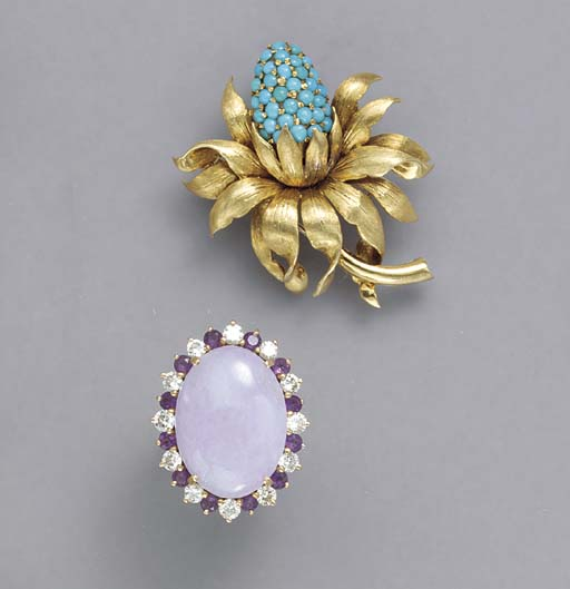A GROUP OF GEM-SET , GOLD AND