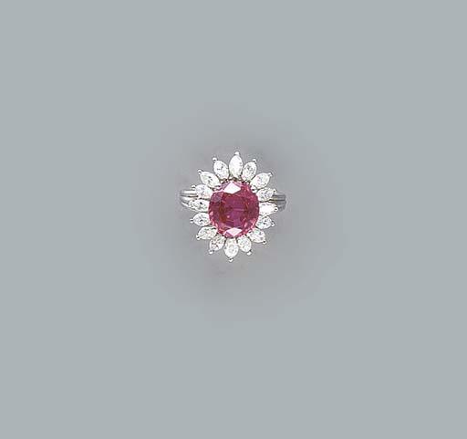 A PINK SAPPHIRE, DIAMOND AND P