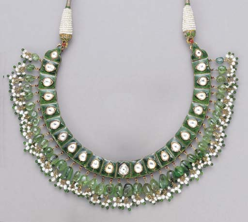 AN INDIAN ENAMEL AND GEM-SET N