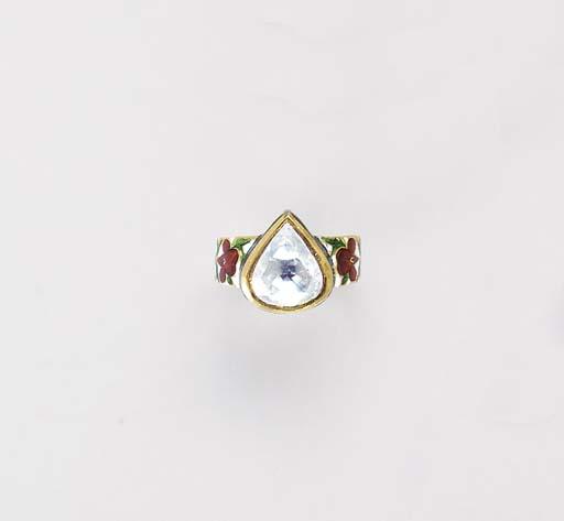 A DIAMOND, ENAMEL AND GOLD RIN