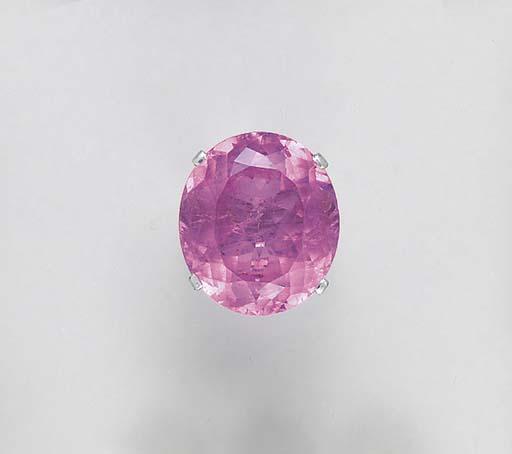 A PINK TOURMALINE DIAMOND AND