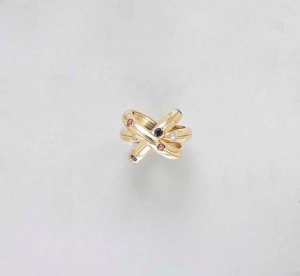 A DIAMOND, SAPPHIRE, RUBY 18K