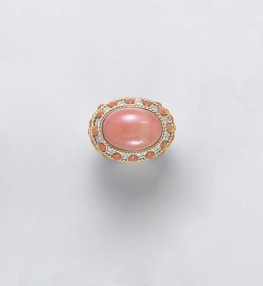 **A CORAL, DIAMOND AND 18K WHI