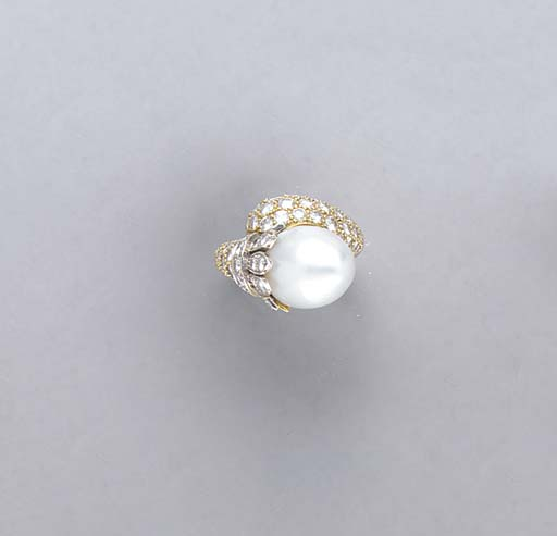 BAROQUE CULTURED PEARL, DIAMON