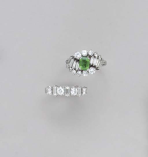 TWO EMERALD, DIAMOND AND PLATI