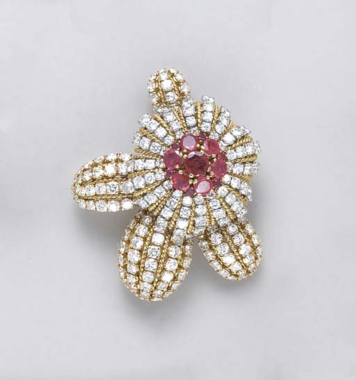 A RUBY, DIAMOND AND 18K GOLD F
