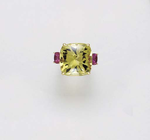 A LEMON CITRINE, PINK TOURMALI