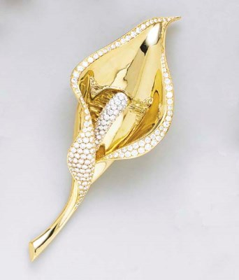 AN 18K GOLD AND DIAMOND LILY B