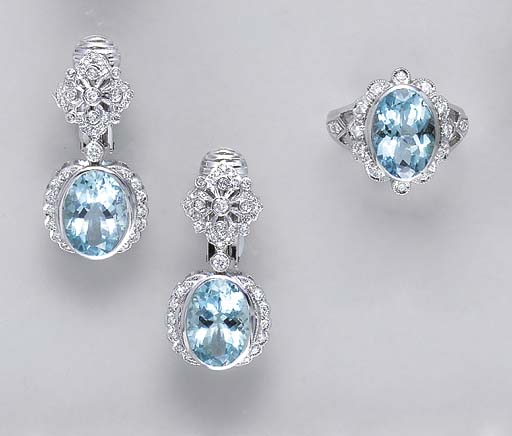 A SET OF AQUAMARINE, DIAMOND A