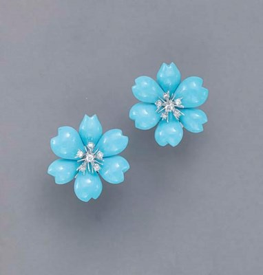 A PAIR OF TURQUOISE, DIAMOND A