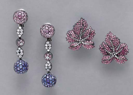 TWO PAIRS OF DIAMOND, PINK AND