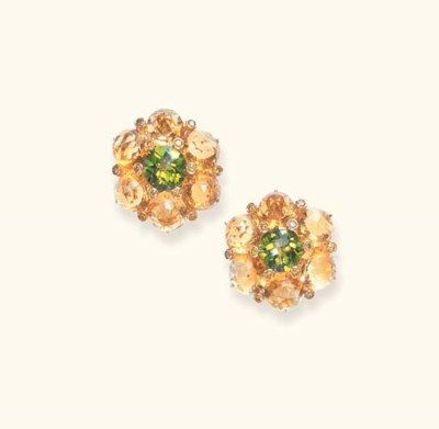 A PAIR OF CITRINE, PERIDOT AND