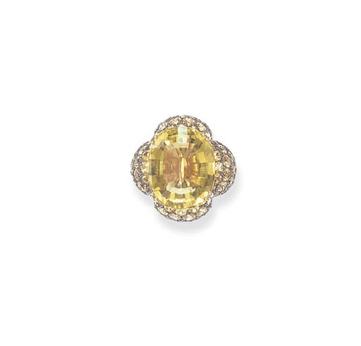 A CITRINE AND YELLOW SAPPHIRE