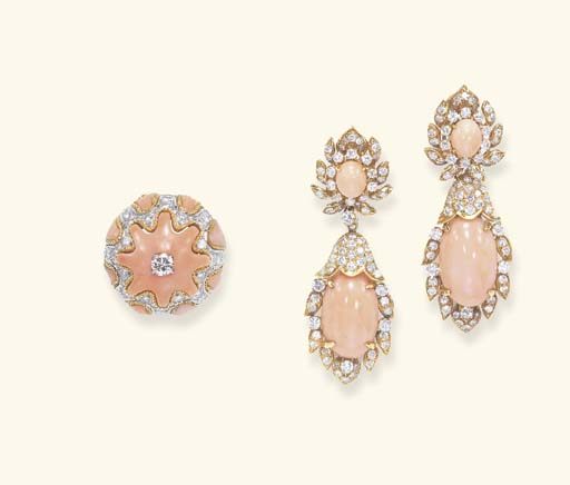 **A SET OF CORAL AND DIAMOND J
