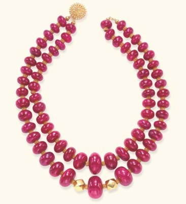 A TWO-STRAND RUBY NECKLACE