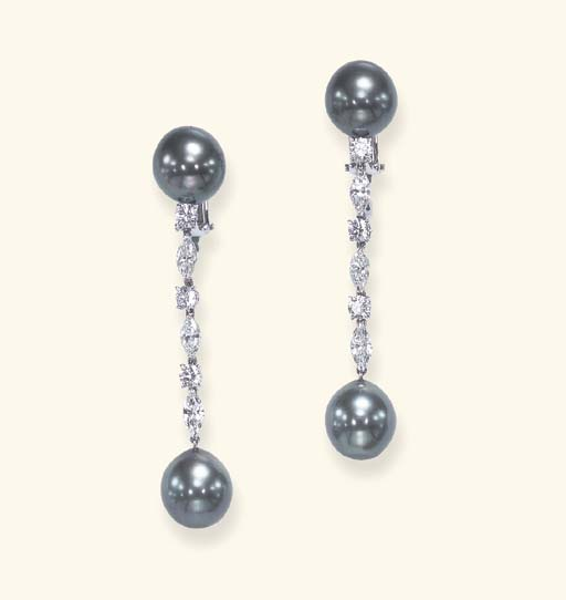 A PAIR OF BLACK CULTURED PEARL