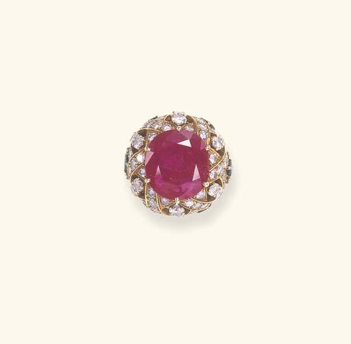 A RUBY, DIAMOND AND EMERALD RI