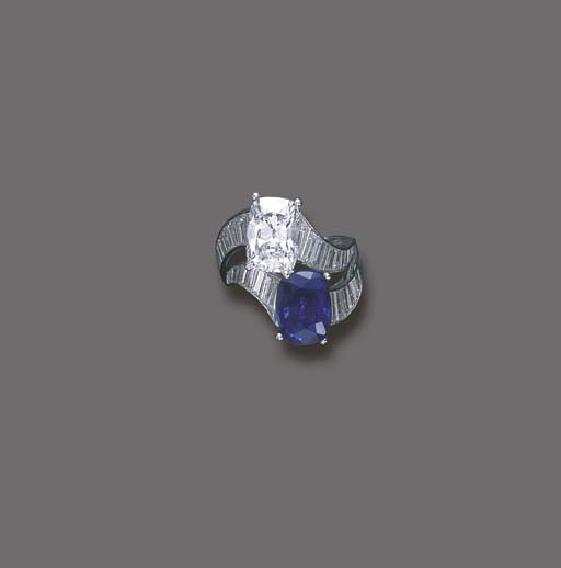 A DIAMOND AND SAPPHIRE TWIN-ST